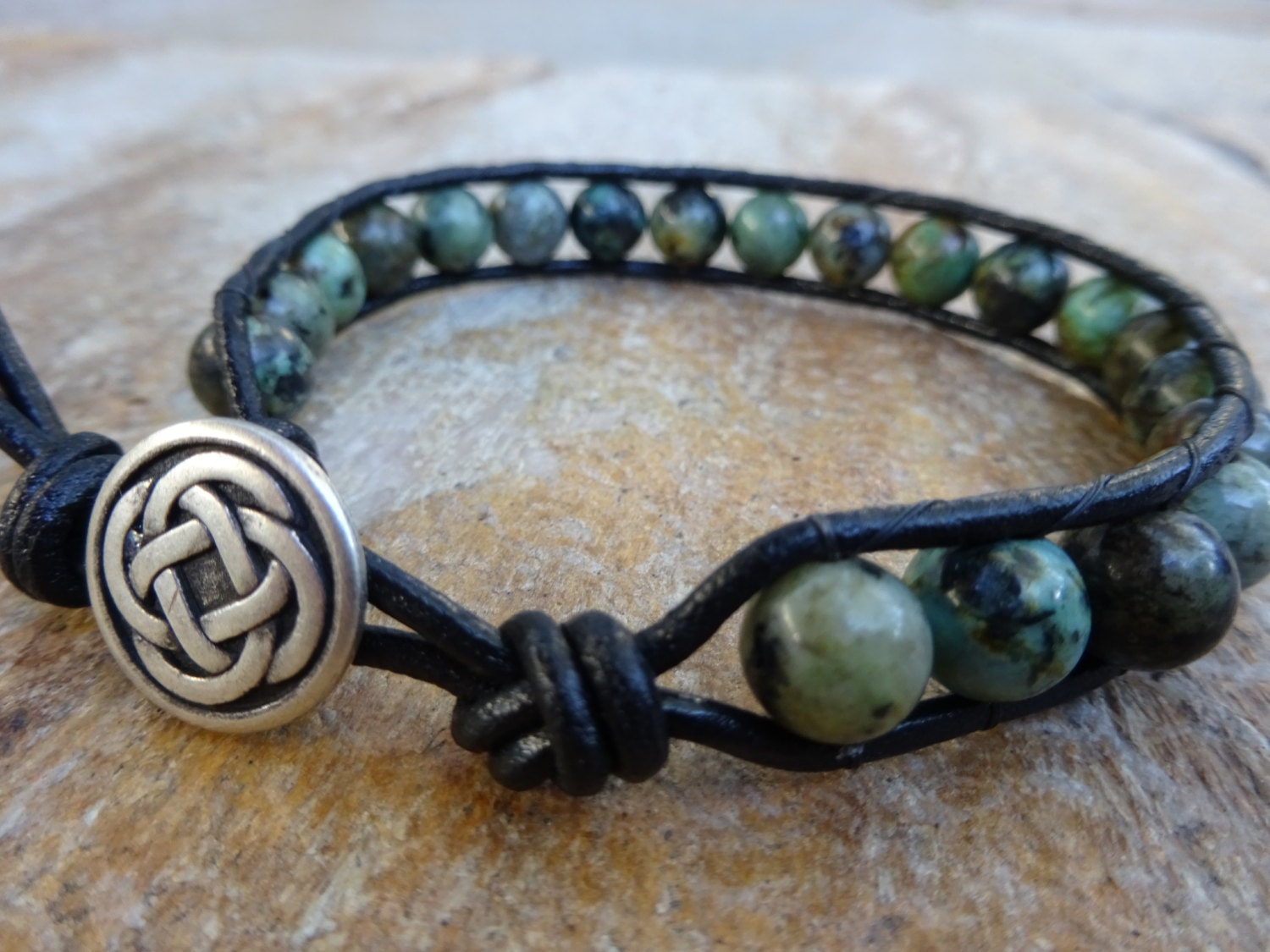 Mens 8mm African Turquoise Bead Black Leather Bracelet