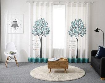 Tree Blackout Curtains, 50% blocks Light, Blackout Panels, Blackout Drapes, White Blackout Curtain, Teenager Blackout Curtain, Kids Blackout