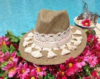 Hippie chic hat/Sun hat/Summer hats/Fedoras hat/ Straw hat/Beach hats/Customs hats/Women's hat/Summertime hats/Festival hats/Bohemian/Style