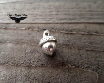 "Acorn Charm Antiqued Silver Oak Tree Charm Silver Acorn Pendant 3D Plant Charm Seed Charm 15mm .61"""