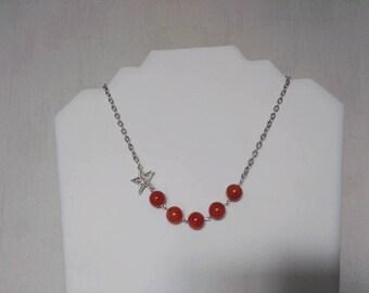 Gem stone Necklace: CARNELIAN (12mm) very elegant