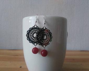 Gem stone Earrings: Burgundy plum JADE