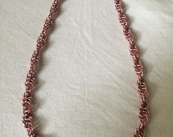 Chain Mail Twist Necklace Pink and Silver Breast Cancer Awareness