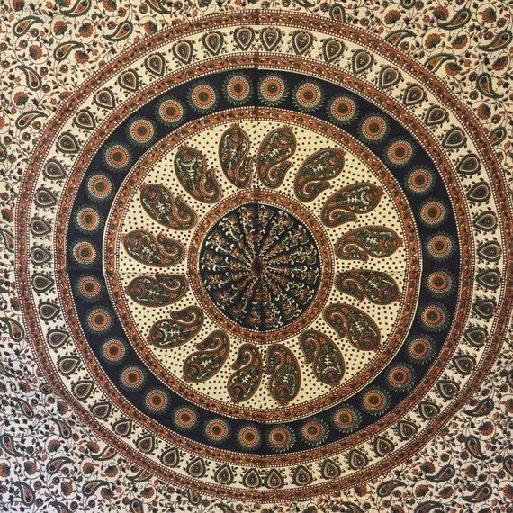 Traditional Mandala Tapestry Terracota & Cream