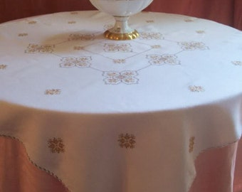 Beautiful embroidered tablecloth. Vintage or antique