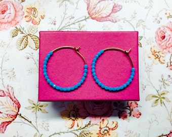Gold-filled hoops with 4mm Czech glass faceted beads in turquoise // jewellery for her // gift for her // blue and gold