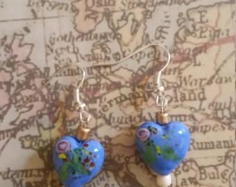 Blue love heart earring