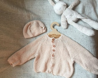 Peaches and Cream Cardigan with matching hat (6-9 months)