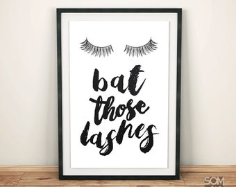 Bat those lashes print - Instant Download - Printable Art Poster - Home decor - Teen Room Print