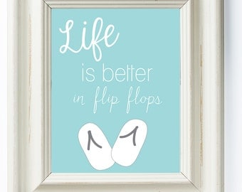 Blue Flip Flop Printable Artwork