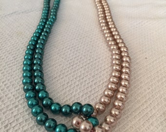 AS IS: 2 Toned Twisted Pearl Necklace