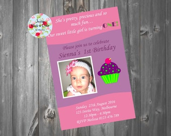 Pink and Purple Birthday Invitation with Cupcake and Photo