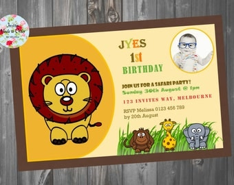 Jungle theme birthday invitation with photo Lion monkey giraffe elephant