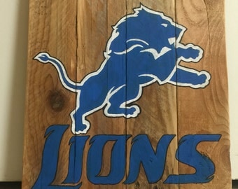 Detroit Lions/ wooden sign/ mancave/ football/ decor/ gift for him/ rustic