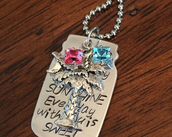 sweet heart necklace, palm tree necklace, southern jewelry, anniversary necklace, mason jar necklace, Swarovski crystals, love necklace