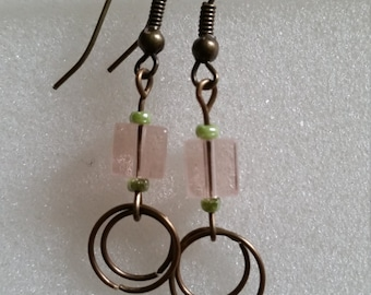 Pink and green beaded earrings