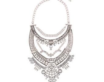 Wedding Bride Cluster Style Crystal Necklace