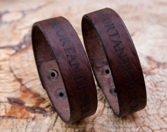 Personalized leather bracelet  engraved
