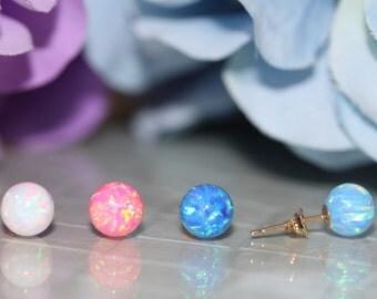 14K Pure Solid Yellow Gold 6mm Opal Push-Back ,Round Opal Stud, Girls, Teen, Women Earrings #S91650