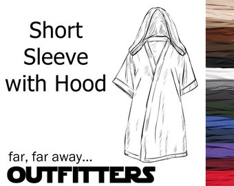 Star Wars Costume, Star Wars Tunic with Hood, BECOME your own JEDI, A La Carte Short Sleeve Tunic, Custom Jedi Costume, Adult Jedi Cosplay