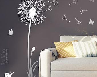 Wall decals dandelion seeds flying butterflies dandelion wall sticker wall sticker living room - dandelion wall decal vinyl decor w316