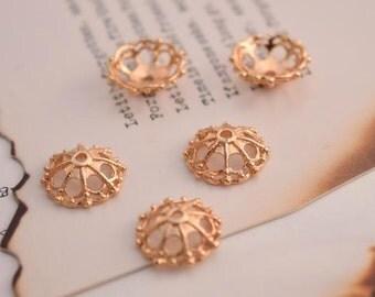 10 of 14K gold filled flower bead cap 11mm MX17
