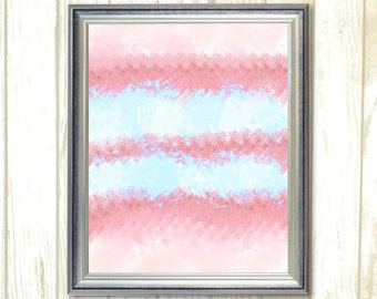 Pink Turquoise Stripes Nursery decor, Printable wall art, Girl room decor, living room wall art, home decor, Digital Instant Download