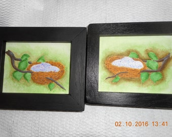 Hand painted pair of nests and eggs. Ready to hang.