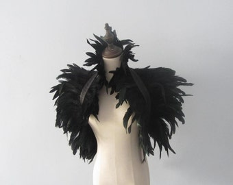 Halloween Black feather cape Unisex Coque Feather Shrug Shoulder Wrap Capelet Burlesque gothic Collar