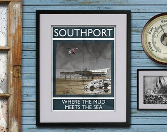 Southport: Where The Mud Meets The Sea - A3 Rubbish Seaside print (signed and dated)