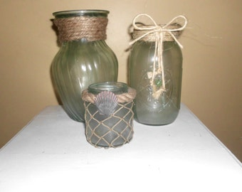 Sea glass Candle Holders, Vases, Containers, Sea Foam Green