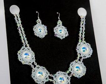 Wedding Jewelry Set, Bridal Jewelry Set, Crystal AB Necklace  Earrings Set, Genuine Swarovski Rivoli Crystal AB,Swarovski Bicone Crystal AB