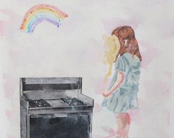 Mixed media print:  Rainbows and Ovens