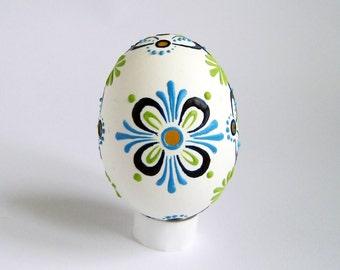 Wax Decorated White Easter Egg Madeira Lace Egg Housewarming Gift Pysanky Hand Painted Egg Ukrainian Easter Egg  Folk Art FREE Shipping