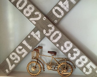 Personalized GPS Coordinates Address Distressed Wooden Sign