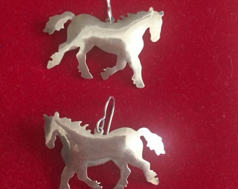 Rare  Zirkus Sterling Silver Prancing Horse Dangle Earrings, pierced, vintage