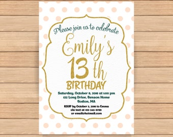 13th birthday invitation, Girl Pink gold birthday invitations Teen birthday invitations Printable invite ANY AGE - 1525