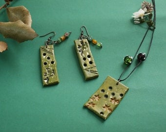 Ceramic Necklace and Earing
