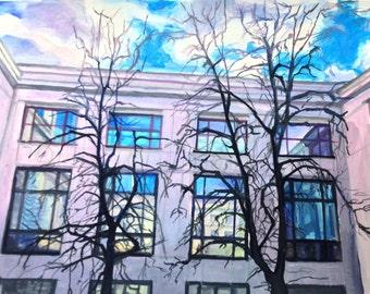 Window reflection. Original painting