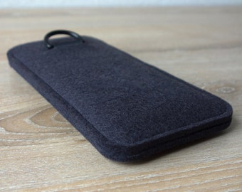 S7 ANTHRACITE · Cell phone case for Samsung Galaxy S7 with pull tab sleeve case made of wool felt