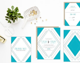 Art Deco Wedding Invitation Set Geo 5x7 Eco Friendly Wedding Recycled Paper Modern Geometric Invitation Suite