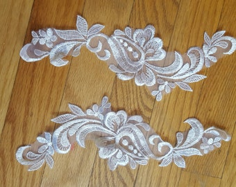 one pair white lightweight embroidered bridal applique