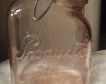 Vintage Pink Glass Farm's Produits de Campagne Fruit Canning jar
