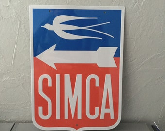 Simca metal sign french car vintage automobile
