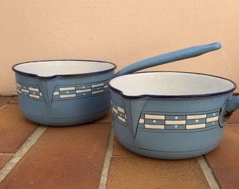 Vintage French Enamelware white blue Enamel Coffee Pot Copper Enameled Enamel