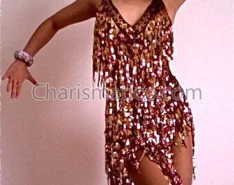 CHARISMATICO Brown Gold Salsa Dance V Neck Dress