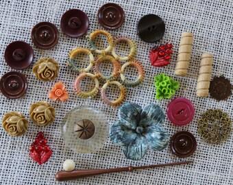 Found Objects Destash - Cabochon Flowers - Vintage Buttons - Assorted Destash - Mixed Media Supplies - Assemblage Supplies - Embellishments