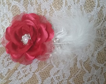 Red Flower with Feather Fascinator