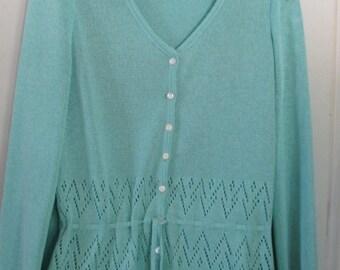 Vtg Kay Windsor Knit Top Skirt Set M Aqua
