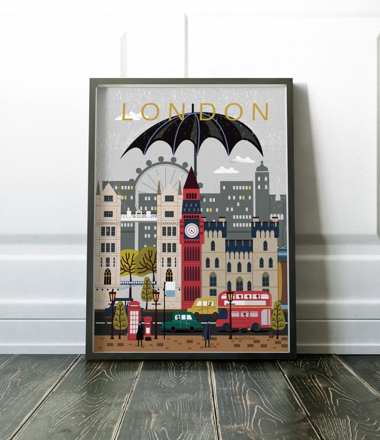 london city poster travel print wall art modern city zoom
